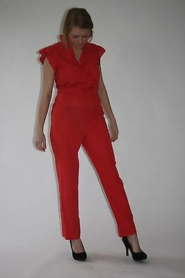 Vintage 1980s coral red jumpsuit ruffle trim one piece romper S M Medium CUTE!