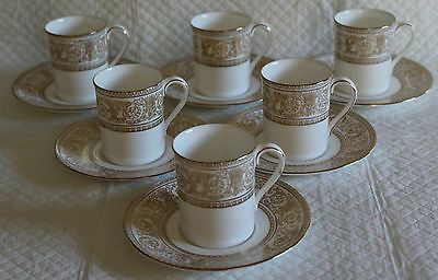 Set of 6 Royal Doulton H4973 1st Sovereign - Coffee Can Cups & Saucers
