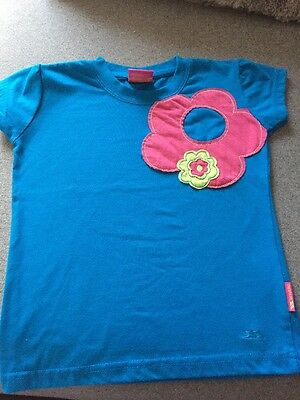 Trespass Blue With Pink Flower T-shirt Age 5-6 Years