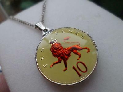 Vintage Enamelled Ten Pence Coin 1992 Pendant & Necklace. Great Birthday Gift