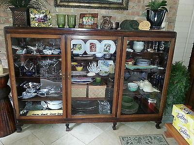 Antique Cabinet or Bookcase with Large Glass Doors Circa 1920
