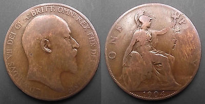 0220 Great Britain Edward Vii Penny 1904
