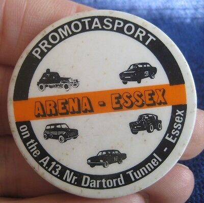 ARENA ESSEX MOTOR RACING PROMOTASPORT vintage 1970s stock car saloon pin BADGE