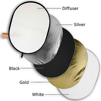 """New Fotodiox 36x48"""" 5-in-1 Oval Reflector Disc, Silver/Gold/White/Black/Diffuser"""