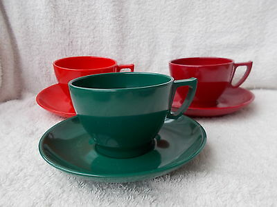 Vintage Melaware - 3 Cups & Saucers - Red, Green & Dark Red - Cool Retro Shape