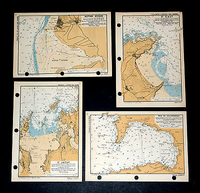 Planning D-DAY Invasion of FRANCE COASTLINE - 4 rare WW2 Admiralty maps 1943
