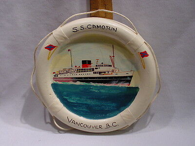 Small Old Mid  20thC  Painting Steamship  SS Camosun Vancouver BC Canada
