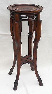 Aesthetic Movement Chinoiserie Stand Side Table Carved Cherry Wood Deer Feet