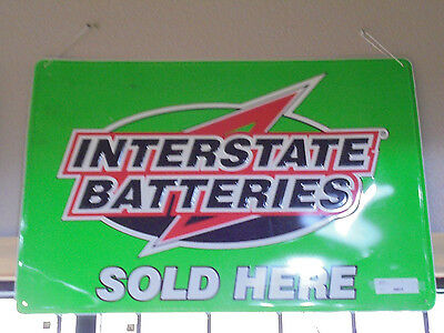 36x24 Vintage Collectible Interstate Batteries Embossed Metal Tin Sign