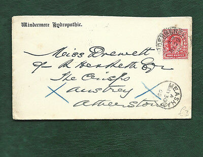 GB 1905 Edward VII 1d stamp on Windermere Hydropathic cover