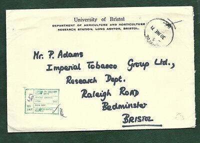 GB 1971 Iniversity of Bristol cover to Imperial Tobacco 5p To Pay