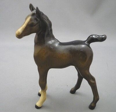 Beswick Horse Foal England Standing Upright Figurine Brown Left Face 4 1/4""