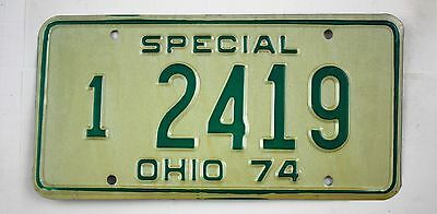 Vintage 1974 Original OHIO Master Special Dealer License Plate 2419