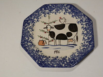 "Molly Dallas Blue Spattered 1996 Christmas 6 3/4"" Octagonal Plate Nice"