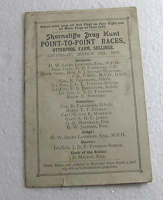 1910  Shorncliffe Drag Hunt Point to Point Race Card At Sellinge