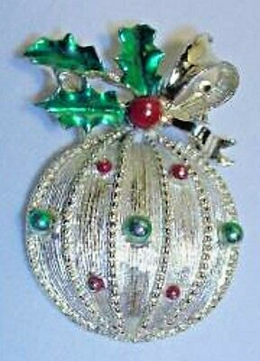 Vintage Gerry's Goldtone and Enamel Christmas Ornament & Holly Brooch Pin