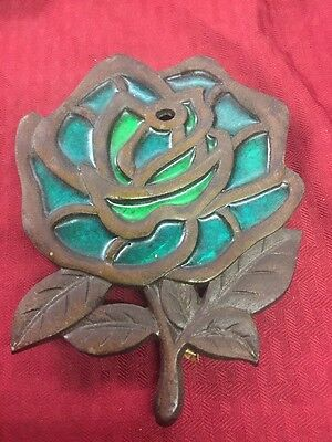 Vintage Flower Retro Olive Green Cast Iron Metal Trivet Made in Japan