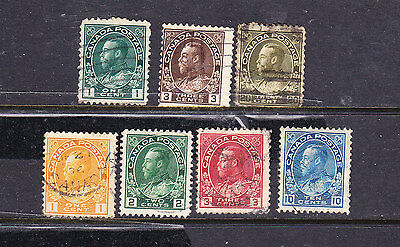 Canada postage stamps - 7 x Used KGV collection odds