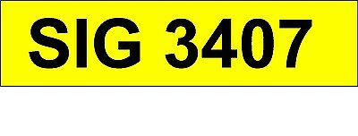 SIG 3407  Private Number Plate Personal Registration.