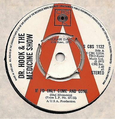 "Dr. Hook 7"" Promo - If I'd Only Come And Gone + Queen Of The Silver Dollar 1973"