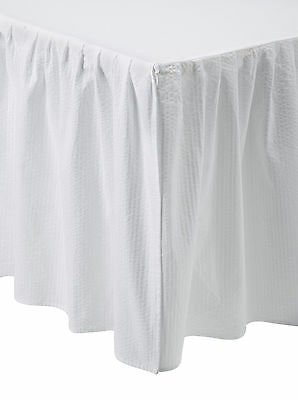 WHITE SEERSUCKER Queen BED SKIRT : COUNTRY COTTAGE CHIC DUST RUFFLE