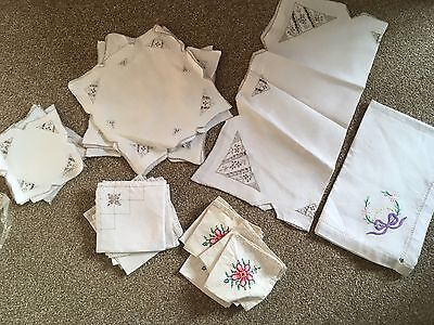 Various Embroidered Linen Hand Worked Napkins Table Mats Vintage Or Antique