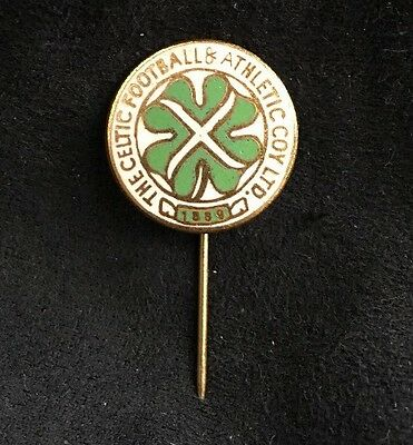 Rare Old Glasgow Celtic Fc Enamel Pin Badge Firmin Antique Vintage Original
