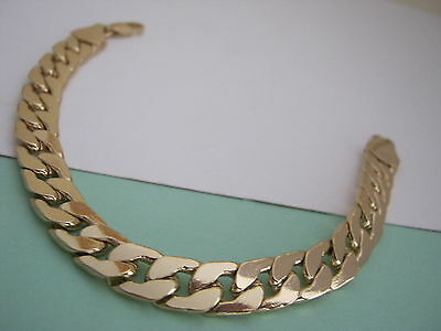 MENS HEAVY CURB   CHAIN BRACELET GOLD   METAL   SIZE 8.5.in Length  12 mm Wide
