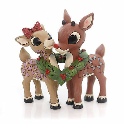 Jim Shore RUDOLPH AND CLARICE Polyresin Holly Wreath Love Red-Nosed 4053069