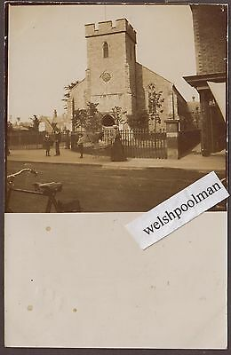 Lovely Antique Lady & Pram Outside Unknown Church Isle of Wight ????? Postcard