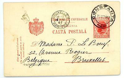 1907 Romania postal stationery postcard from Constanta to Brussels Belgium