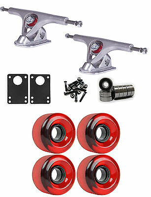 Paris Longboard Trucks Wheels Package 62mm 83A Red Clear Stoneground
