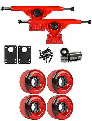 RKP Red Longboard Trucks Wheels Package 62mm 83A Red Clear Stoneground