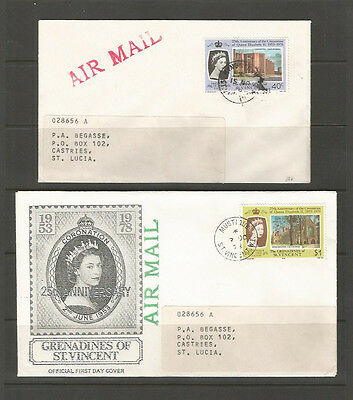 Grenadines of St. Vincent two modern covers to St. Lucia