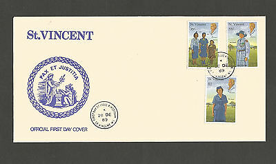 St. Vincent 1989 Girl Guides part set FDC, SG1501/3/5