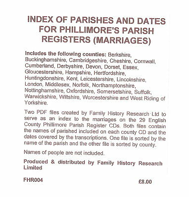 Index to Phillimore's Parish Registers - CD Rom