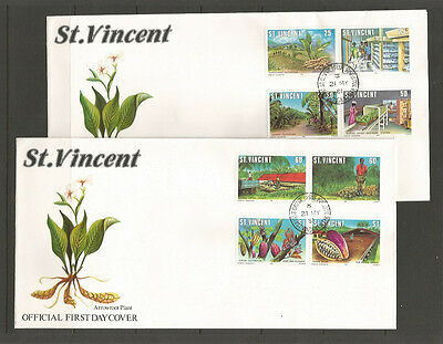 St. Vincent 1981 Agriculture on two FDCs, SG660-7