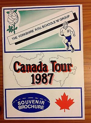 Yorkshire Schools 16 Group 1987 Rugby Tour of Canada Brochure