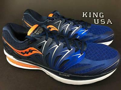 Men's Saucony Hurricane ISO 2 Running Athletic Shoes Navy Blue Orange Size 11