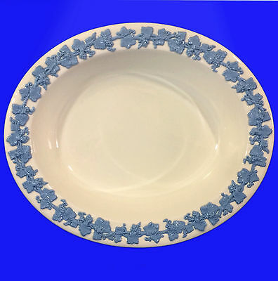 """Wedgwood Queensware Embossed 10"""" Oval Serving Bowl - Lavender on Cream"""