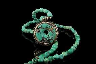 Vintage Chinese Disc Green Turquoise Sterling Silver Pendant Necklace