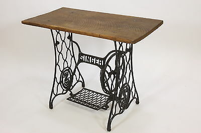 Singer Treadle Sewing Machine Base Oak Table Rough Sawn Top Industrial Steampunk