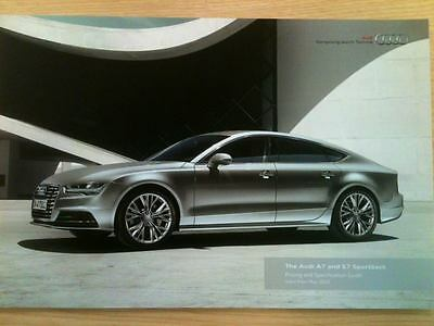 AUDI A7 & S7 Sportback UK Sales Brochure/Pricing & Specification Guide May 2016