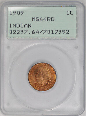 1909 Indian Cent PCGS MS 64 RD Red Uncirculated Old Rattler Holder