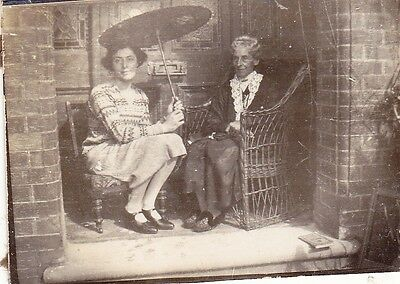 Vintage Old Photo Two Ladies Cane Chair Parasol House Doorway 1920's