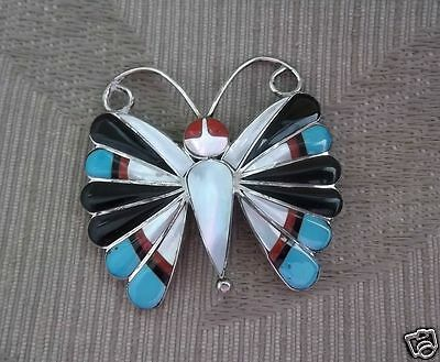 Zuni Sterling Silver Large Heavy Butterfly Inlay Pendant Brooch-Sarah Edaakie!