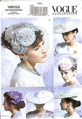 Vogue Accessories Hats 40s 50s PATTERN 8052 Hat Making Millinery Fascinators