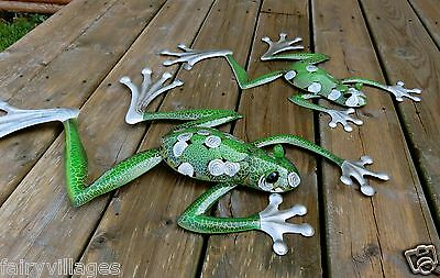 2 Metal Frogs Wall Plaques Garden Decor 12.0X19.5In,14.5X28.0 In. New Yard Decor
