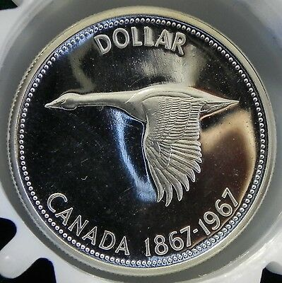 """Canadian 1967 Commemorative Proof """"Flying Goose"""" Silver Dollar"""