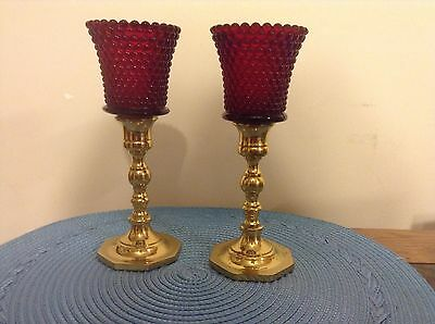 Beautiful Pair Red Hobnail Glass Votive Candle Cup Holders With Brass Holders